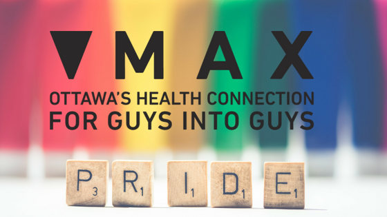 MAX Ottawa GBT2Q men's health Pride logo with Pride coloured backgroue