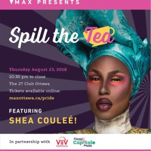 Shea Coulee spill the tea poster
