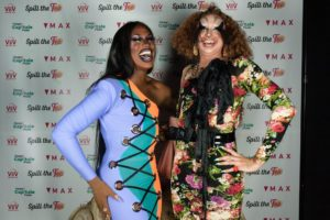 Shea Coulee posing with Mikiki at Spill the Tea