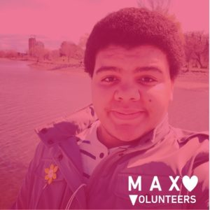MAX Volunteer with red filter over photo