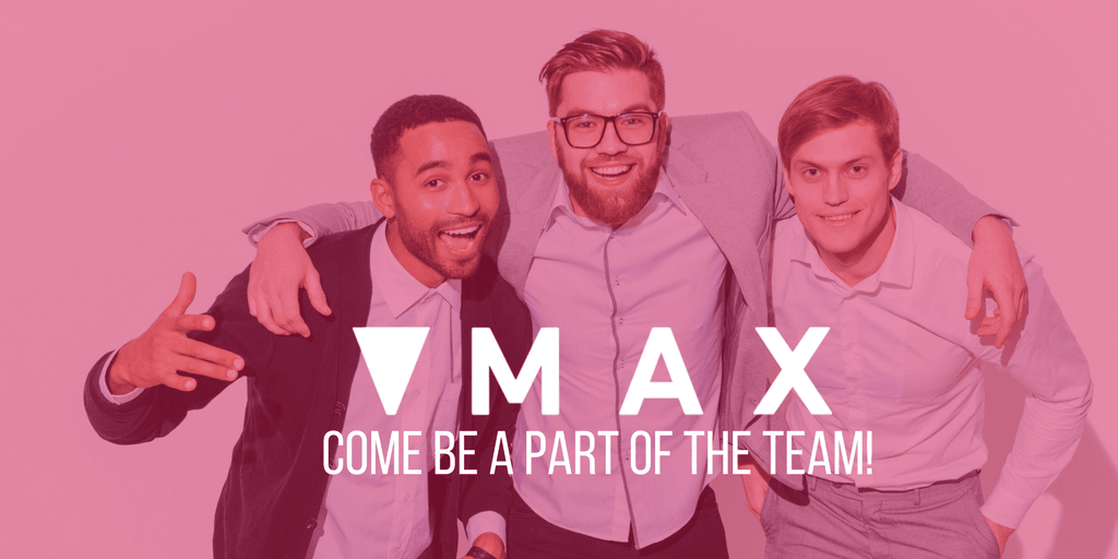 3 guys embracing facing camera with the words MAX come be part of the team written over. The whole photo has a pink filter over it.