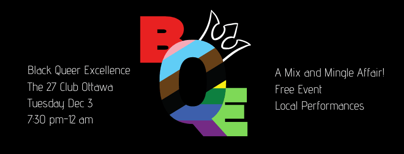 Black background with colourful lettering for BCE.