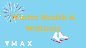 Winter Health & Wellness poster with a pair of white skates and a large snowflake.