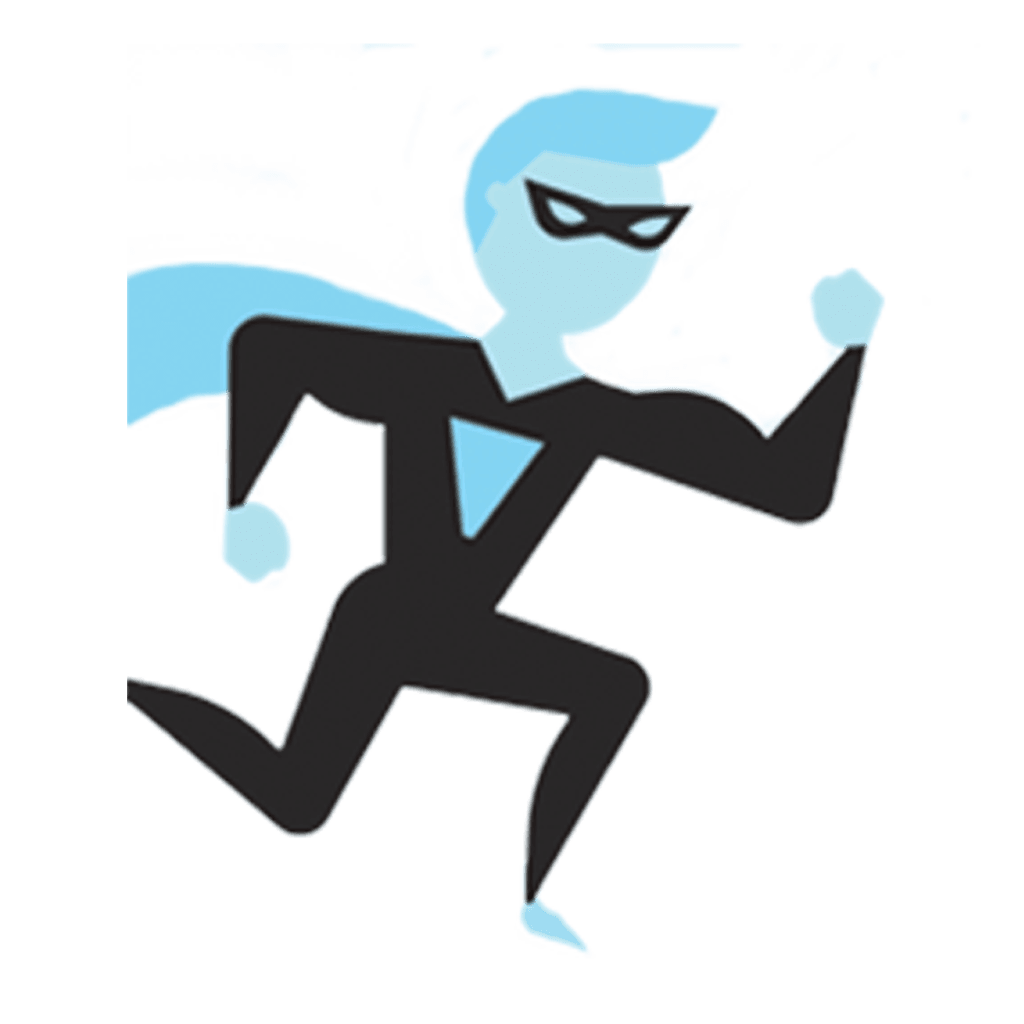community maximier logo of a cartoon man with cape looking like he's running