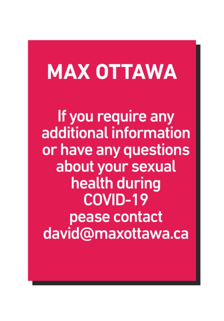 MAX Ottawa's COVID-19 Sexual Health Resources