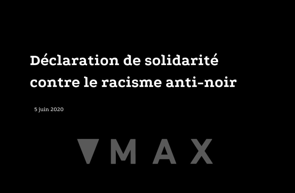 Déclaration de solidarité contre le racisme anti-noir 5 juin 2020