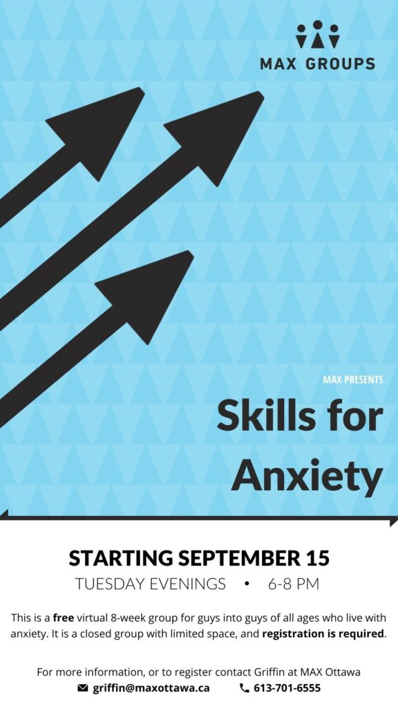 Skills for Anxiety Poster Starting September 15th. Tuesday Evenings. 6-8 PM