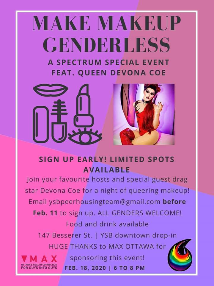 Make up Genderless. Spectrum youth group Community MAXimizer project with Devona Coe